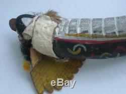 Xlarge Antique / Vintage Zuni Indian Antler Tribal Use Amulet /fetish Turquoise