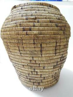 Xtra Large Antique / Vintage Mescalero Apache Indian Storage Basket Polychrome