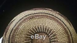 Yurok Hupa Karuk Antique Native American Indian Basket Hat or Sewing Basket